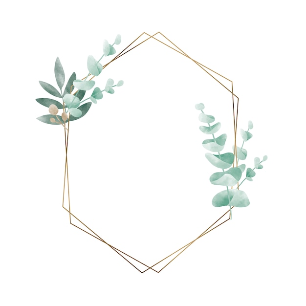 Geometric frame with leaves vector Free Vector