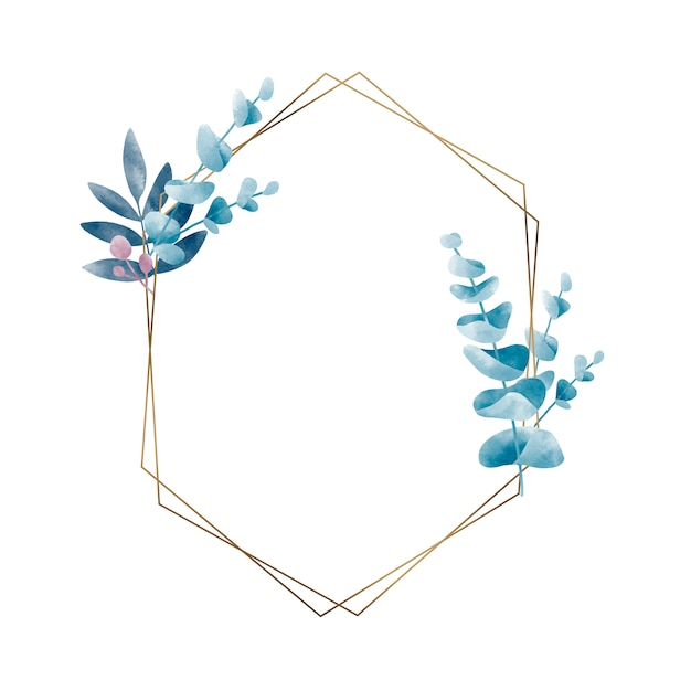 Free Vector Geometric Frame With Leaves Vector