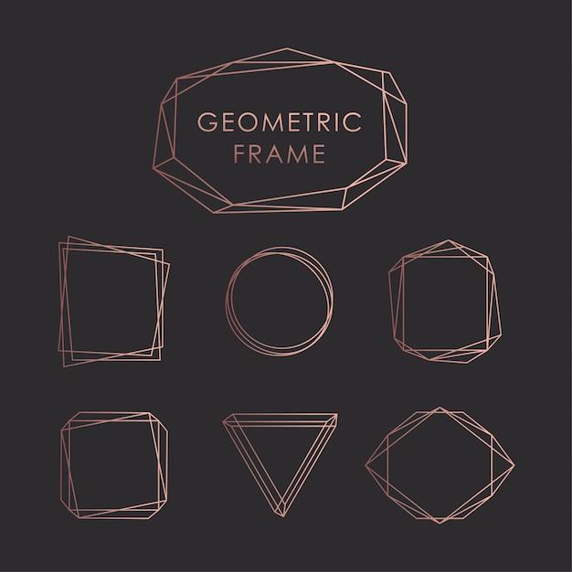 Geometric frames black goldrose Premium Vector