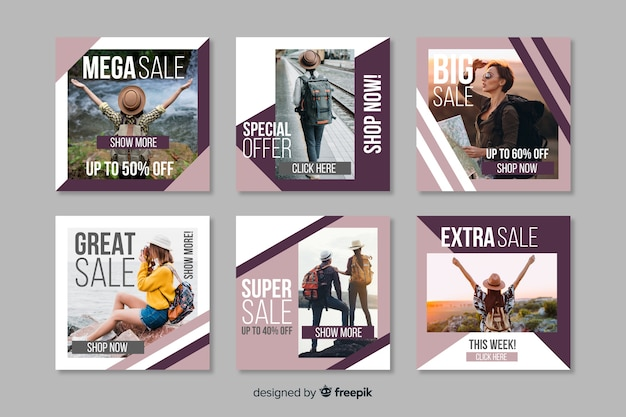 Geometric frames instagram post collection template Free Vector