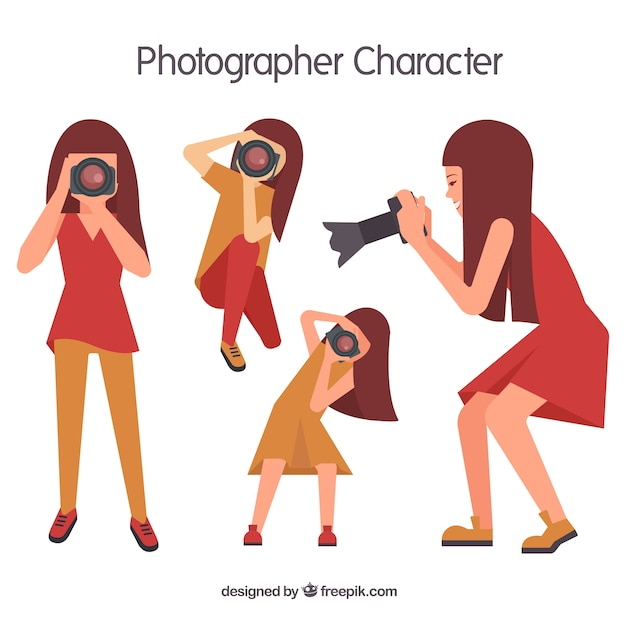 Geometric girl photographer Free Vector
