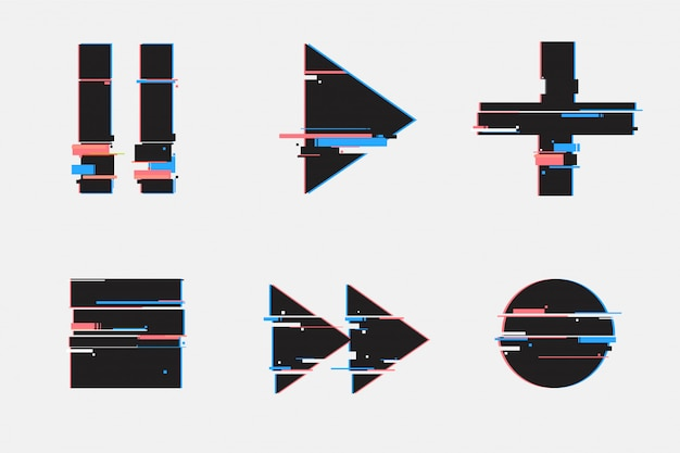 Geometric glitch style.play, pause, record, play buttons. Premium Vector