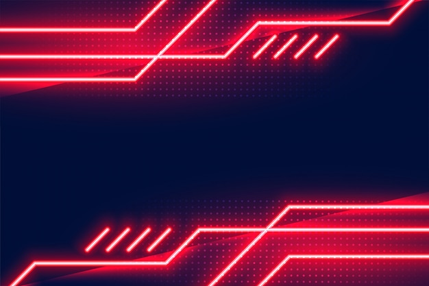 Geometric glowing red neon lights background design Free Vector