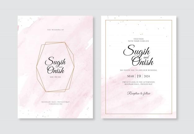 結婚式の招待状のテンプレートの手の水彩画のスプラッシュと幾何学的なゴールド Premiumベクター