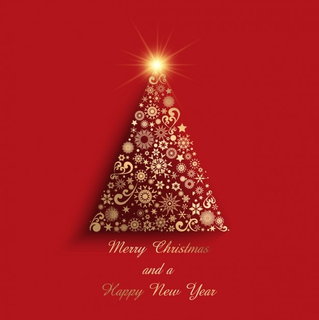 Geometric golden christmas tree on a red background Free Vector