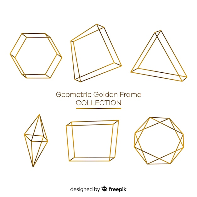 Geometric golden frame collection Free Vector