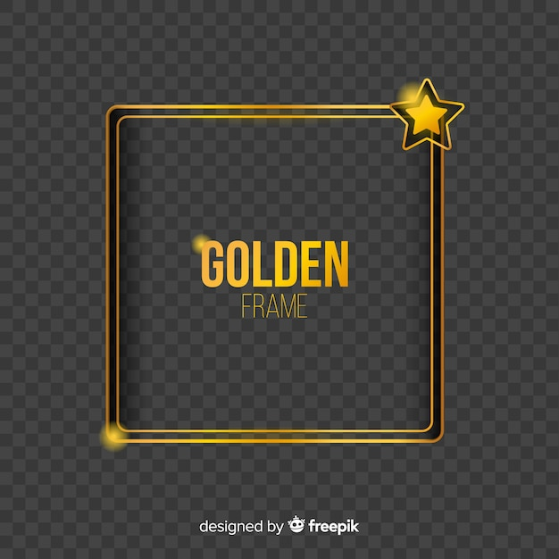 Geometric golden frame with light effects Free Vector
