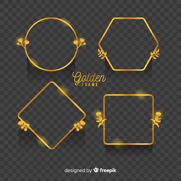 Geometric golden frames set with light effects Free Vector