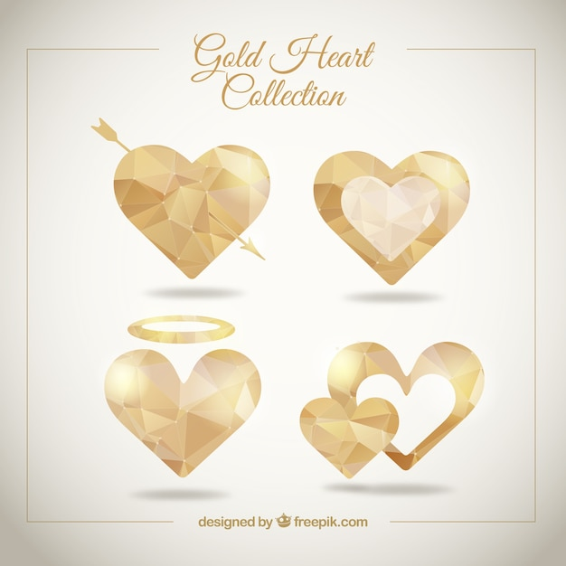 Geometric golden hearts Free Vector