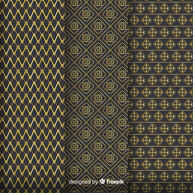 Geometric golden luxury pattern collection Free Vector