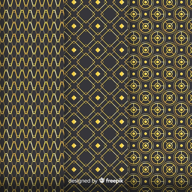 Geometric golden luxury pattern pack Free Vector