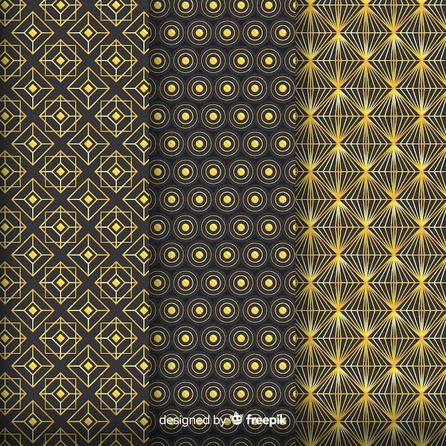 Geometric golden luxury pattern set Free Vector