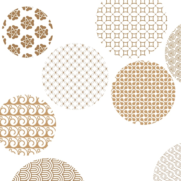 Geometric golden patterns formed circles on white with clipping mask Premium Vector