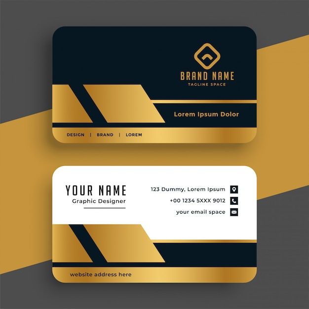 Geometric golden premium business card  template Free Vector
