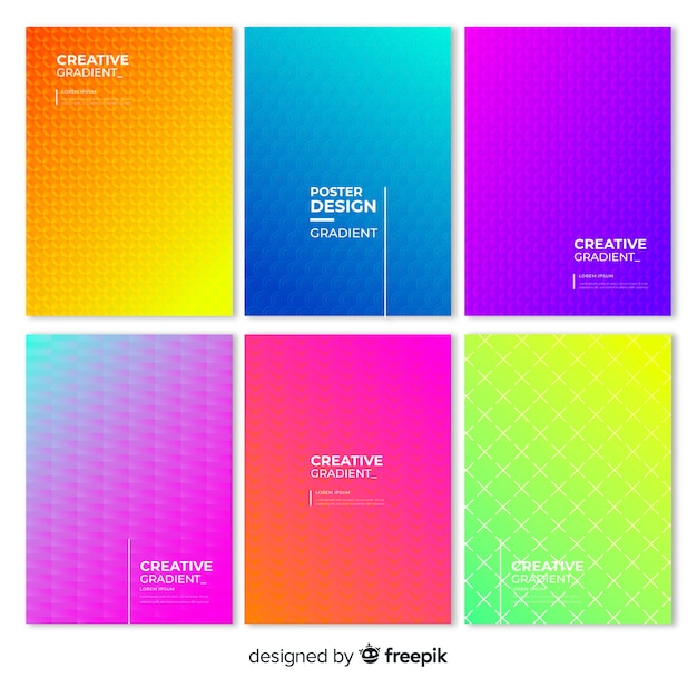 Geometric gradient poster collection Free Vector