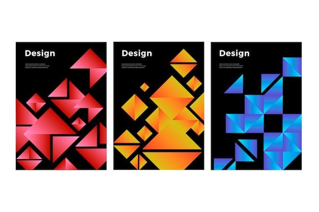 幾何学的なグラデーションシェイプがコレクションをカバー 無料ベクター