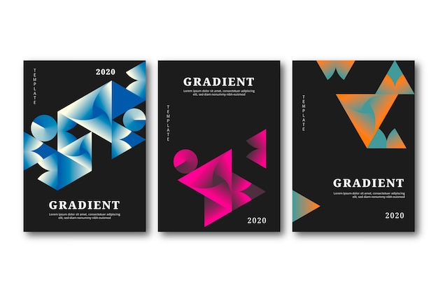 Geometric gradient shapes covers on dark background Free Vector