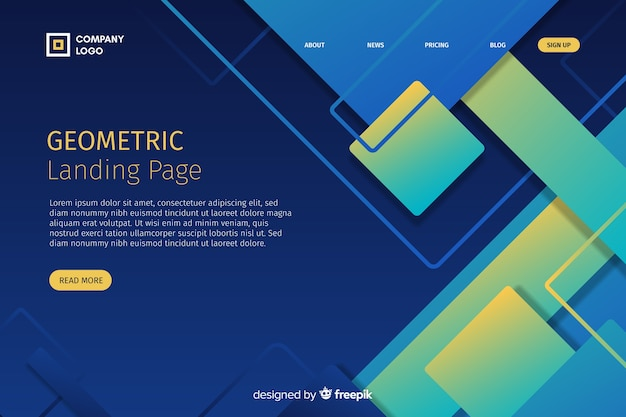 Geometric gradient shapes landing page template Free Vector