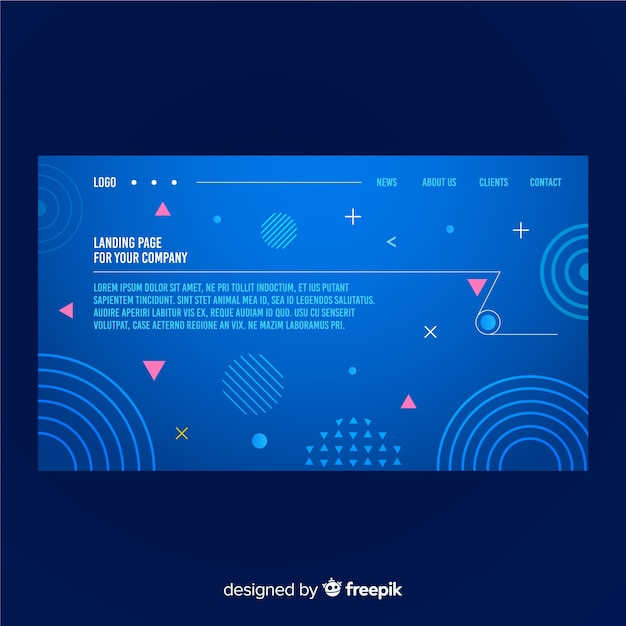 Geometric gradient shapes landing page Free Vector