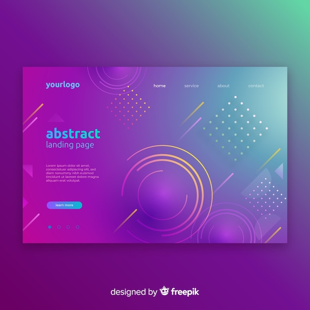 Geometric gradient shapes landing pages Free Vector