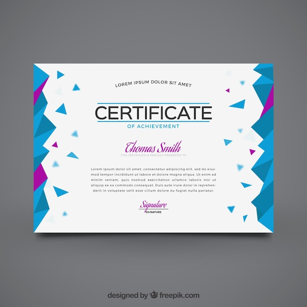 Geometric graduation certificate with purple details ...