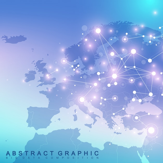 Geometric graphic background communication with europe map. big data complex with compounds. perspective backdrop. minimal array. digital data visualization. scientific cybernetic illustration. Premium Vector