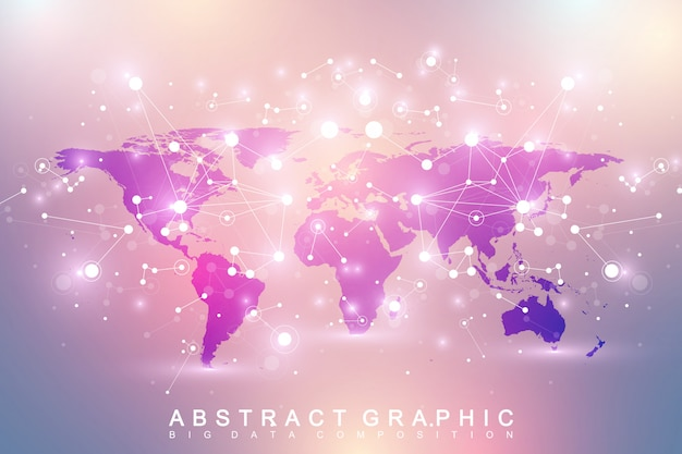 Geometric graphic background communication with political world map. big data complex with compounds. perspective minimal array. digital data visualization. scientific cybernetic   illustration. Premium Vector