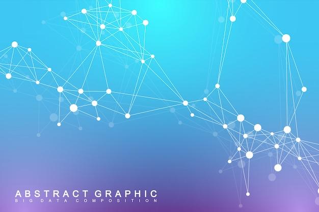 Geometric graphic background molecule and communication. big data complex with compounds. digital data visualization. scientific cybernetic illustration. Premium Vector