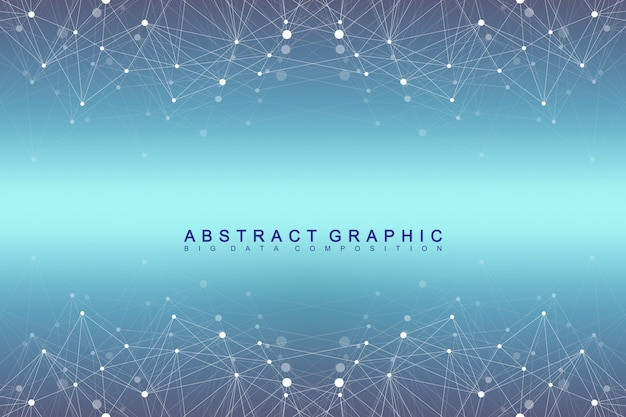 Geometric graphic background molecule and communication. big data complex with compounds. digital data visualization. scientific cybernetic vector illustration. Premium Vector