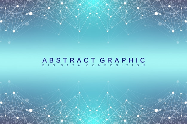Geometric graphic background molecule and communication. big data complex with compounds. perspective backdrop. minimal array. digital data visualization. scientific cybernetic illustration. Premium Vector