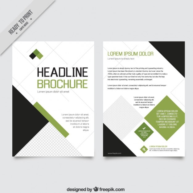 Geometric green and black business flyer