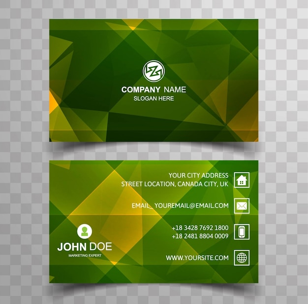 Geometric green business card template
