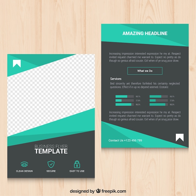 Geometric green business flyer Free Vector