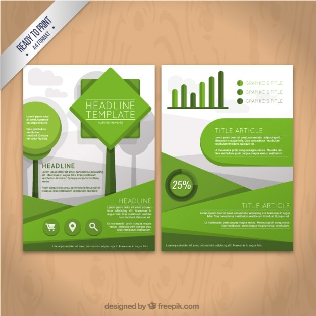Geometric Green Flyer Template Vector  Free Download