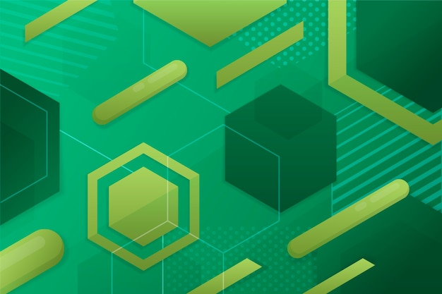 Geometric green shapes background Free Vector