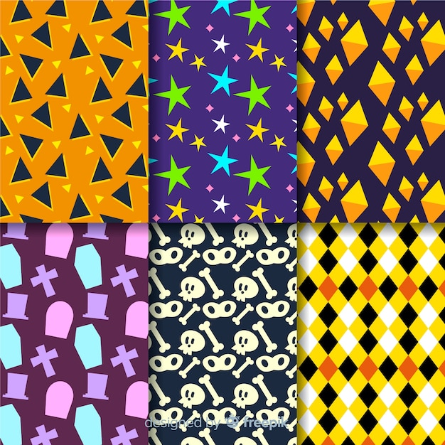 Geometric halloween pattern collection Free Vector