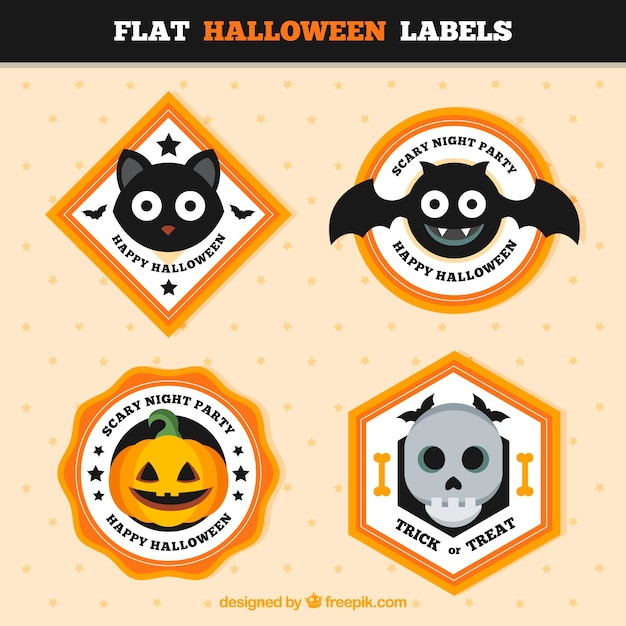 Geometric halloween stickers in flat style Free Vector