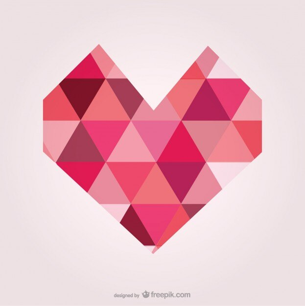 Geometric heart made of triangles