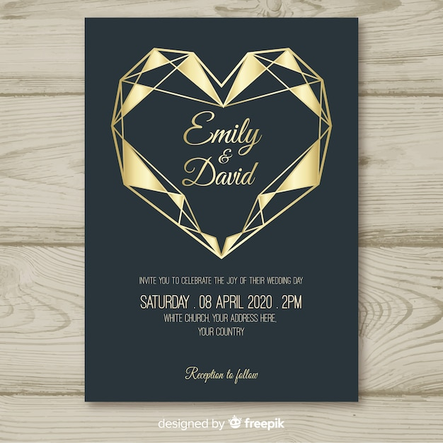 Geometric heart wedding invitation template Free Vector