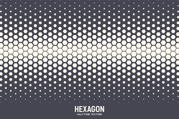 幾何学的な六角形のハーフトーンテクスチャ抽象的な背景 Premiumベクター