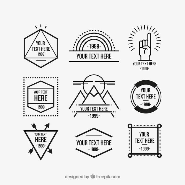 Geometric hipster logos Premium Vector