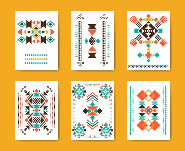 Geometric hipster tribal triangular flyers. ethnic traditional , creative pattern, Free Vector