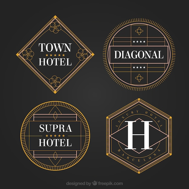 geometric hotel logos in a vintage style vector free