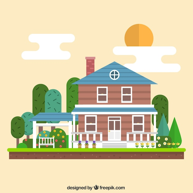 geometric house illustration vector free download