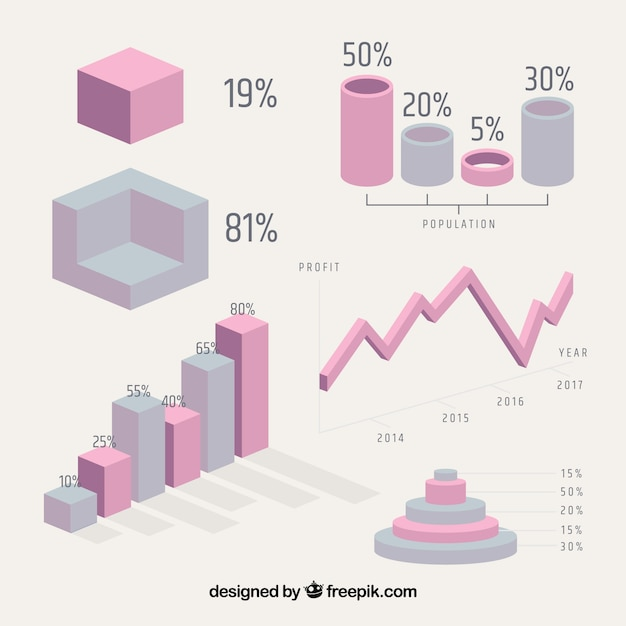 Geometric infographic elements Free Vector