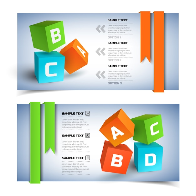 Geometric infographic horizontal banners with colorful 3d cubes Free Vector