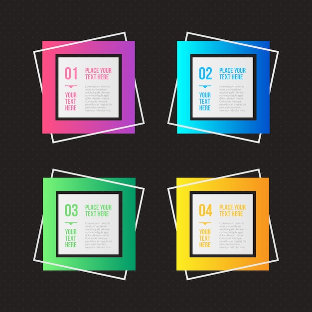 Geometric infographic options with different colors Free Vector
