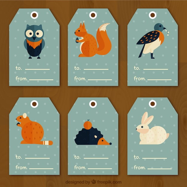 Geometric labels with forest animals