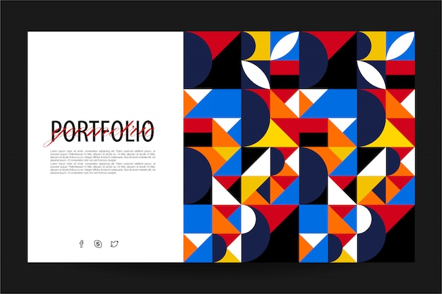 Geometric landing page website template Premium Vector