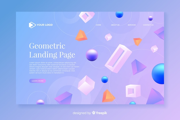 Geometric landing page with 3d models Free Vector